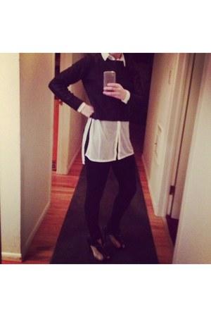 H&M sweater - Alexander McQueen boots - Zara leggings - H&M blouse