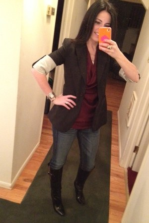 black BCBG blazer - black patent leather Jimmy Choo boots - American Eagle jeans