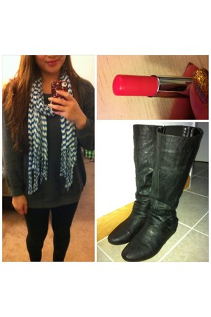 H&M sweater - papaya boots - Forever 21 scarf