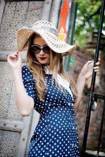 vintage dress - vintage hat - black  white Chanel sunglasses