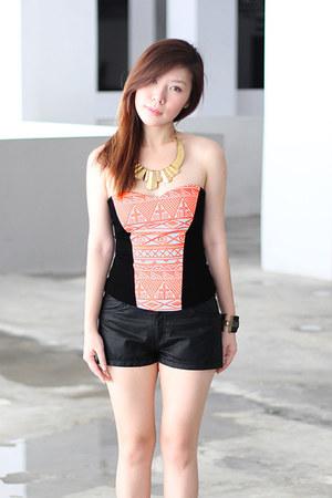 faux leather H&M shorts - Flauntcc top - diva bracelet