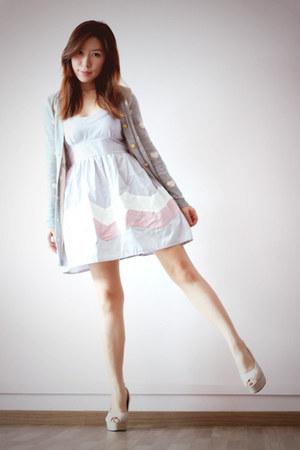 periwinkle Kindofwonderfulsg dress - heather gray knit hearts somewhere cardigan