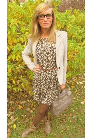 heather gray Bershka blazer - dark green pull&bear dress - heather gray Topshop