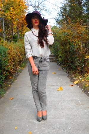 magenta new look hat - periwinkle high waisted H&amp;M jeans - white Zara shirt