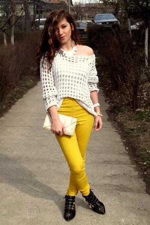 yellow summer Eponge jeans - black golden detailed Zara boots