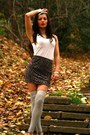 Cream-guess-scarf-dark-brown-animal-printed-new-yorker-skirt
