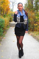 floral printed random brand scarf - Jeffrey Campbell boots - New Yorker dress