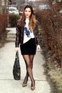 Dark-brown-leather-terranova-jacket-black-zara-skirt