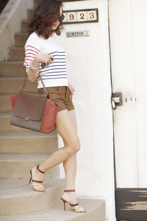 brown Celine Trapeze purse - light yellow Louis Vuitton shoes