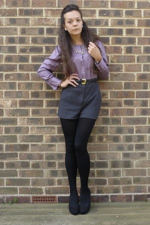 gray DIY shorts - amethyst Stella McCartney blouse - black new look wedges