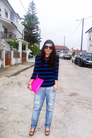navy Zara jeans - navy Zara jeans - hot pink Bershka bag - yellow Spartoo wedges