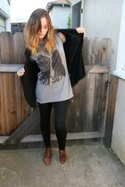 gray shirt - black Forever 21 cardigan - black Forever 21 leggings - brown vinta
