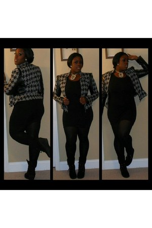 black Ross dress - charcoal gray thrifted blazer - black sheer Target tights