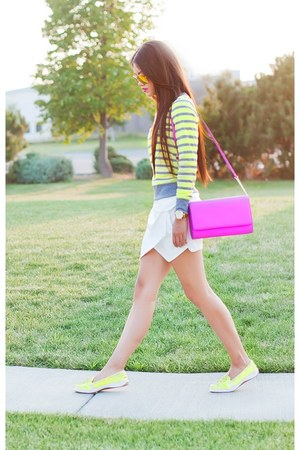 yellow coach shoes - amethyst hm purse - ivory Forever 21 shorts