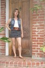 Denim-vest-brown-vintage-belt-black-target-skirt-brown-lucky-brand-flats