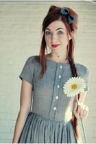 heather gray vintage dress - charcoal gray felt hair bow gaera accessories