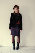 black cowboy Sostanza boots - deep purple vintage Warren Petites dress - black v