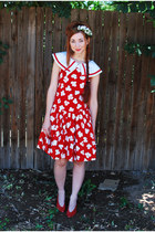 ruby red sailor style handmade dress