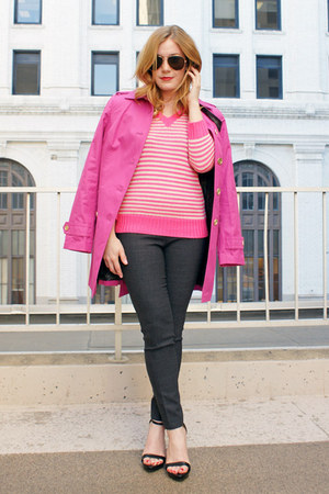 hot pink banana republic coat - hot pink JCrew sweater - dark gray JCrew pants