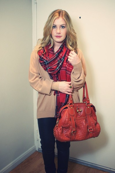 red vintage scarf - beige vintage sweater - orange bag - black pants