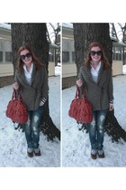 red melie bianco purse - brown abercrombie and fitch sweater - shirt - Almost Fa