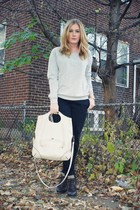 gray H&M sweater - black JCrew pants - white vintage purse - brown GoJane shoes