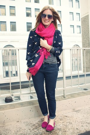 hot pink go jane flats - dark gray JCrew shirt - navy Forever 21 blouse