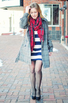 navy H&M dress - heather gray Forever 21 jacket - red vintage scarf - black Lori
