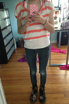 cream lace on back top - salmon stripes croped top - black boots