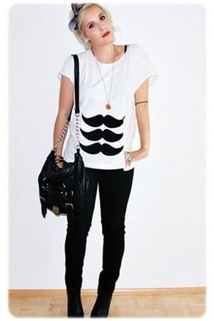 white MatiStache t-shirt - black Primark bag - black H&M pants