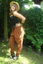 yellow hay hat H&M hat - burnt orange harem H&M pants