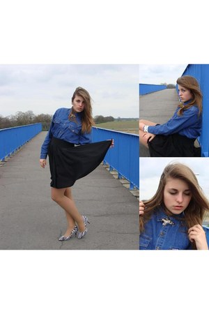 blue jeans second hand shirt - black DIY skirt