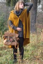 teal Orsay dress - black high heeled boots - bronze reserved bag