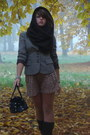 Black-leather-deichmann-shoes-dark-khaki-checked-mexx-jacket