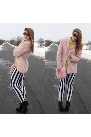light pink second hand jacket - black striped c&a leggings