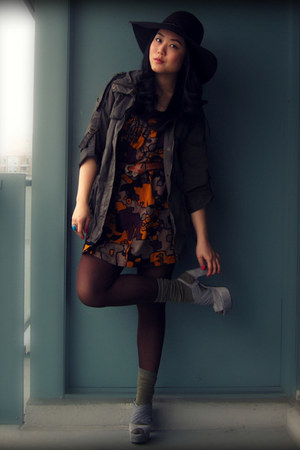 tawny FCUK dress - dark brown H&M hat - army green Forever 21 jacket - dark brow