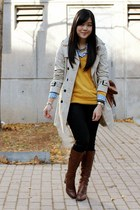 beige trench coat Zara jacket - brown calvin klein boots - black parasuco jeans