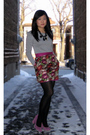 Gray-zara-top-red-forever-21-skirt-black-hue-tights-black-necklace-purpl