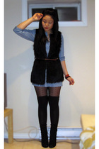blue H&M dress - black Forever 21 vest - brown H&M belt - black H&M tights - bla