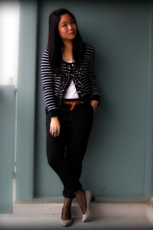blue Zara cardigan - white Forever 21 top - black joe fresh style pants - brown