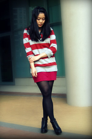 red Urban Outfitters sweater - hot pink H&M skirt - black Aldo boots