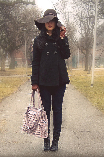 black Spring boots - black Zara coat - navy Uniqlo jeans - dark brown H&M hat -