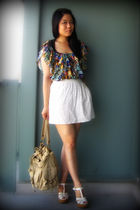 green H&M blouse - white Urban Outfitters skirt - white Forever 21 shoes - beige
