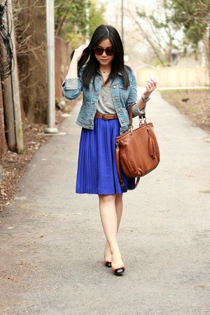 blue banana republic skirt - light brown yeswalker shoes - light blue H&amp;M jacket