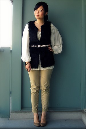 black Forever 21 vest - white Mango blouse - dark khaki H&amp;M pants - dark khaki A