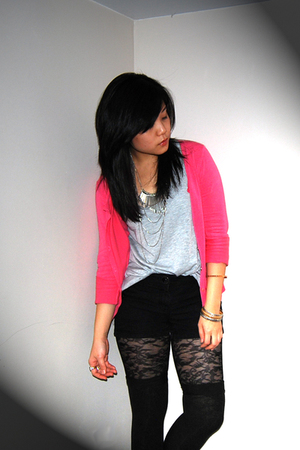 silver Ardene & Forever21 accessories - pink H&M jacket - black Ardene tights