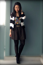 green multicolor H&M blouse - black striped H&M blazer - army green Uniqlo skirt