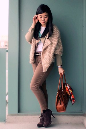beige Anthropologie cardigan - dark brown Luxury Rebel boots