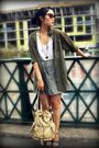Green-h-m-blouse-gray-forever-21-dress-beige-urban-outfitters-bag-blue-h-m