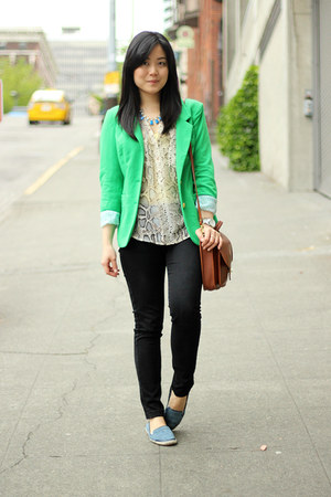 green Vero Moda blazer - black Uniqlo jeans - brown bag - beige blouse